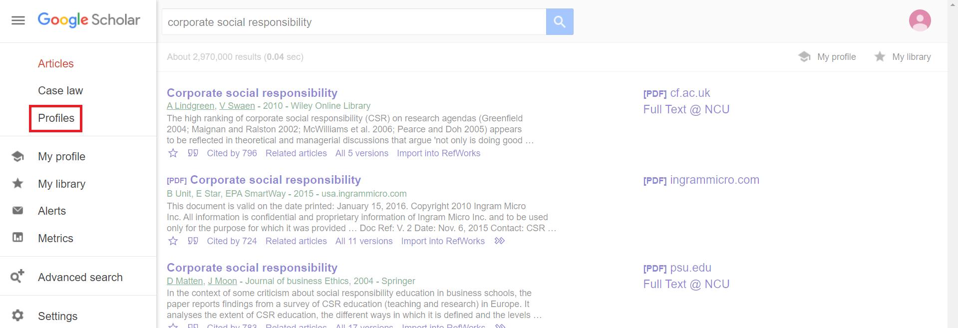 Profiles in Google Scholar