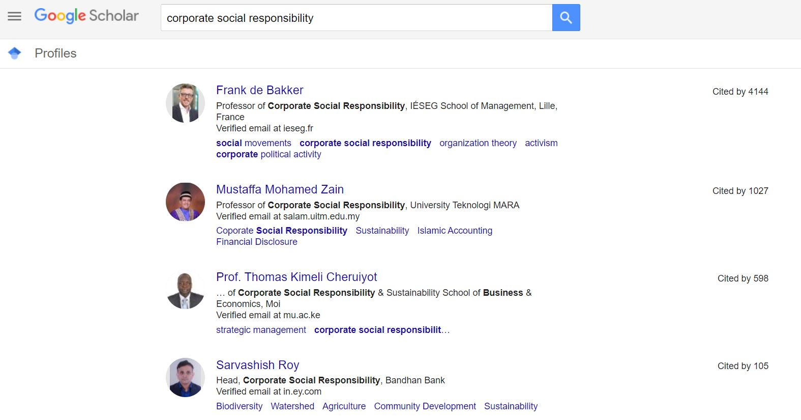 List of authors in Google Scholar's Profiles search