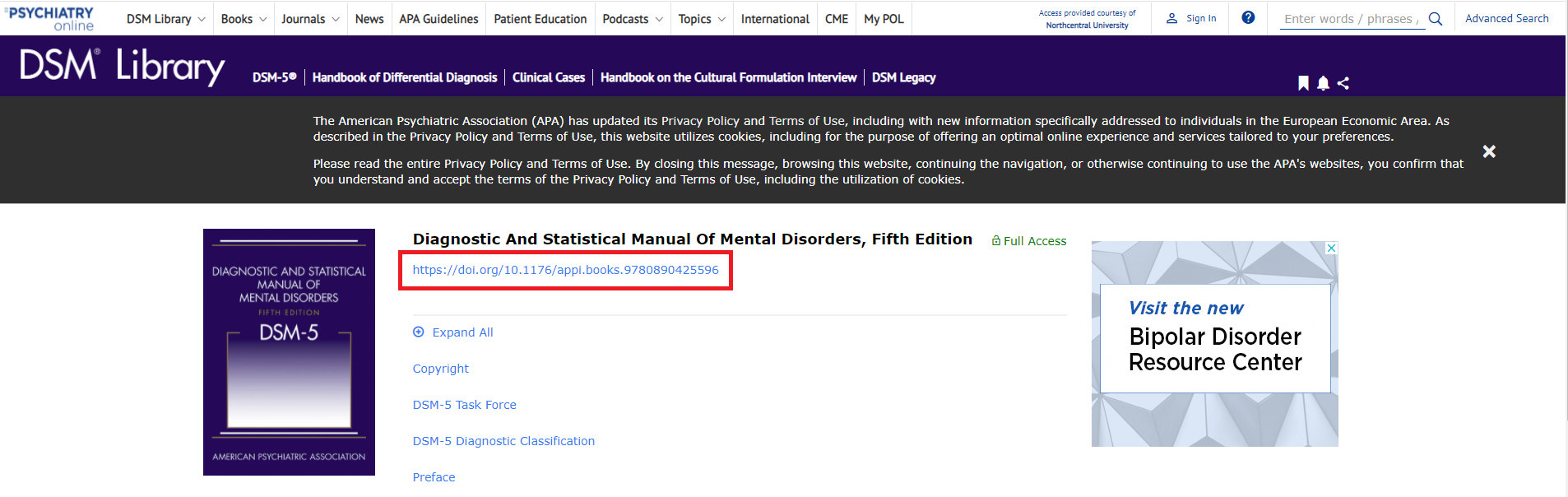 Psychiatry Online resource landing page with DOI link highlighted