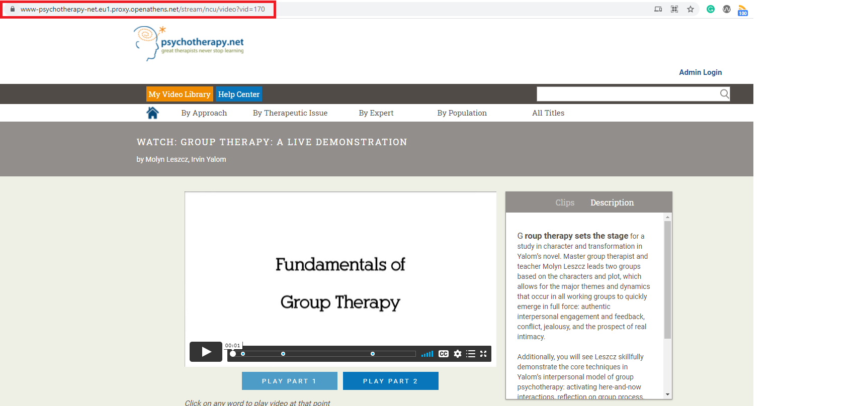 Psychotherapy.net resource landing page with URL in address bar highlighted