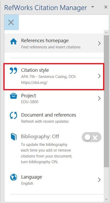 RefWorks Citation Manager choose citation style output