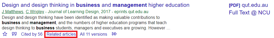 Related articles link in Google Scholar