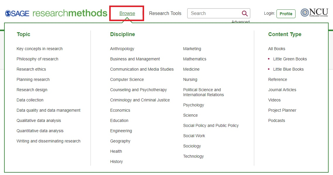 Browse by Topic or Discipline screen in SAGE Research Methods