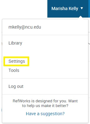 Settings in RefWorks