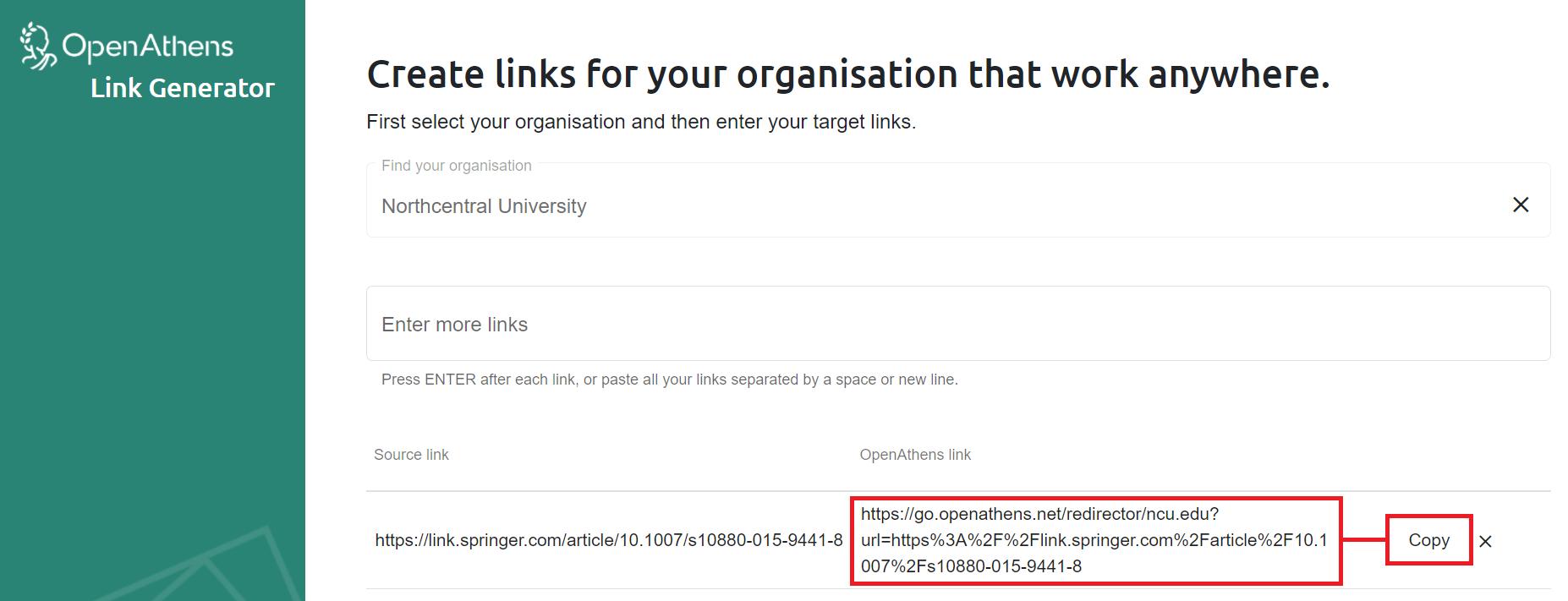 OpenAthens redirector link generator creating a resource link for a SpringerLink resource