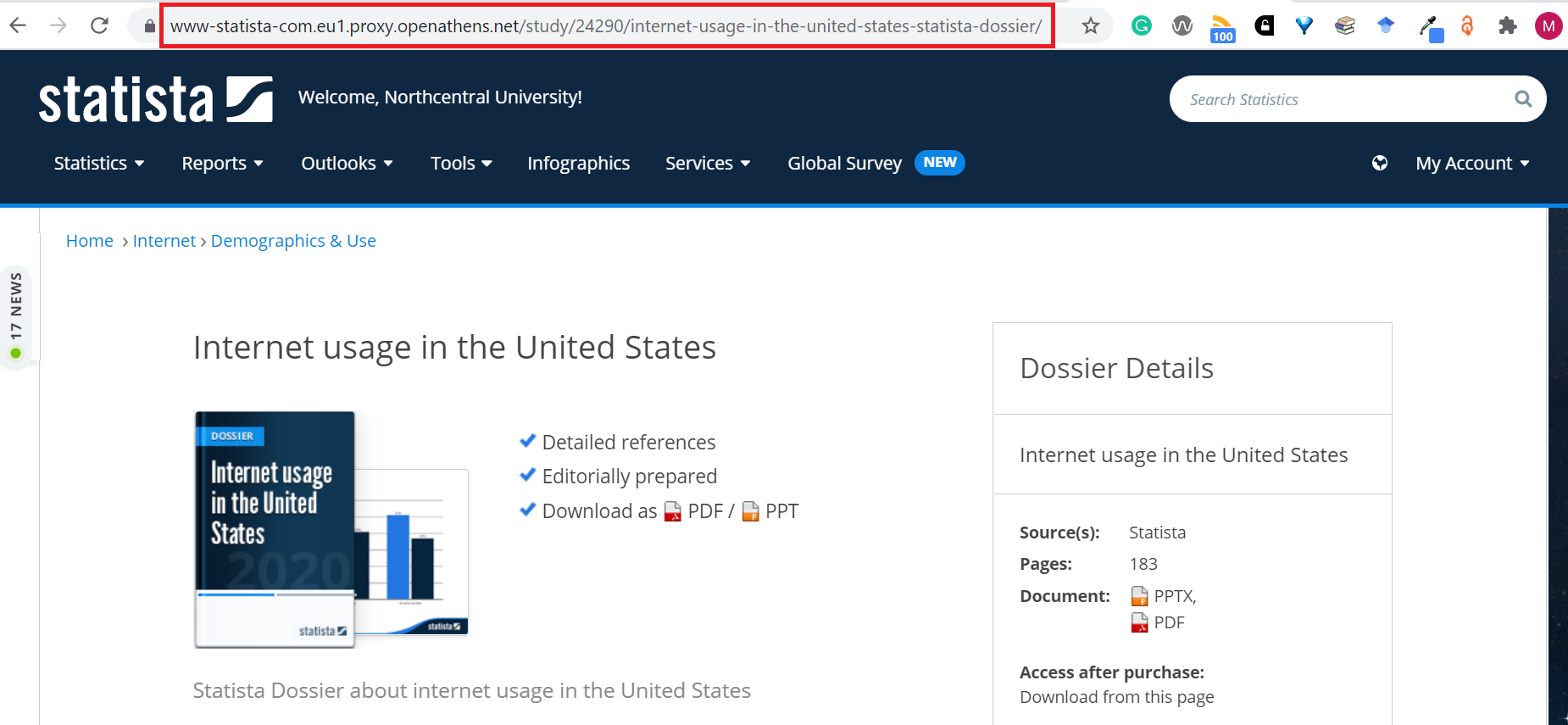 Obtaining permalink for a Statista resource using the URL link in the address bar