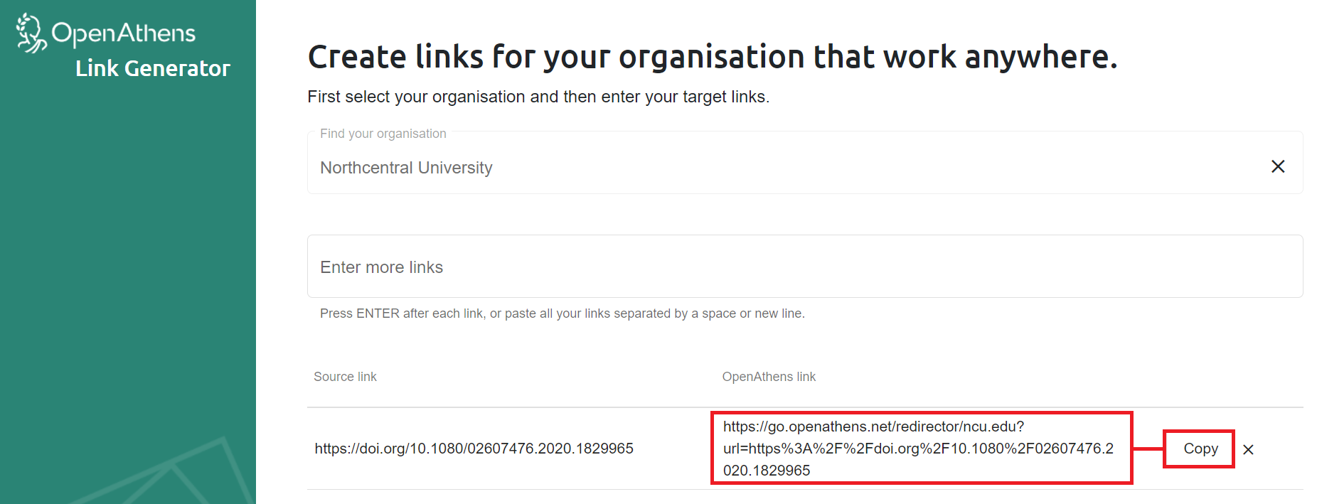 OpenAthens redirector lnk generator tool displaying a resource permalink for Taylor & Francis article
