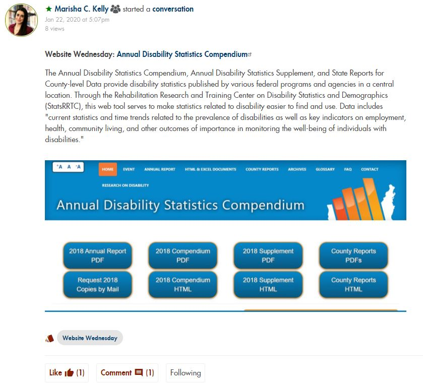 Website Wednesday Post on Annual Disability Statistics