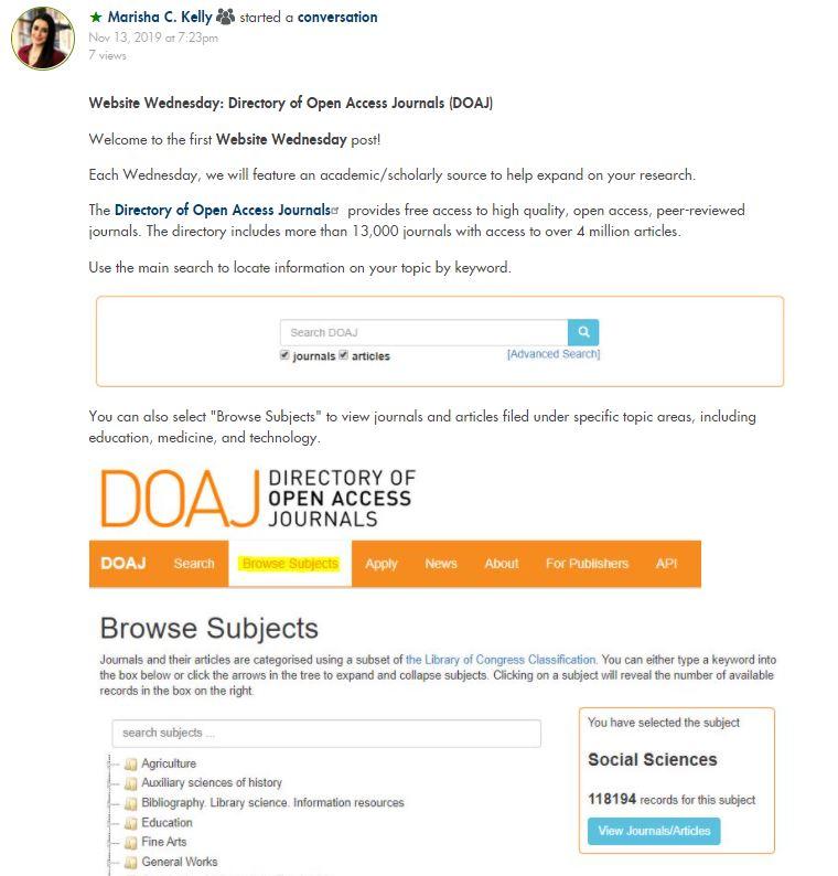 Website Wednesday Post on Directory of Open Access Journals