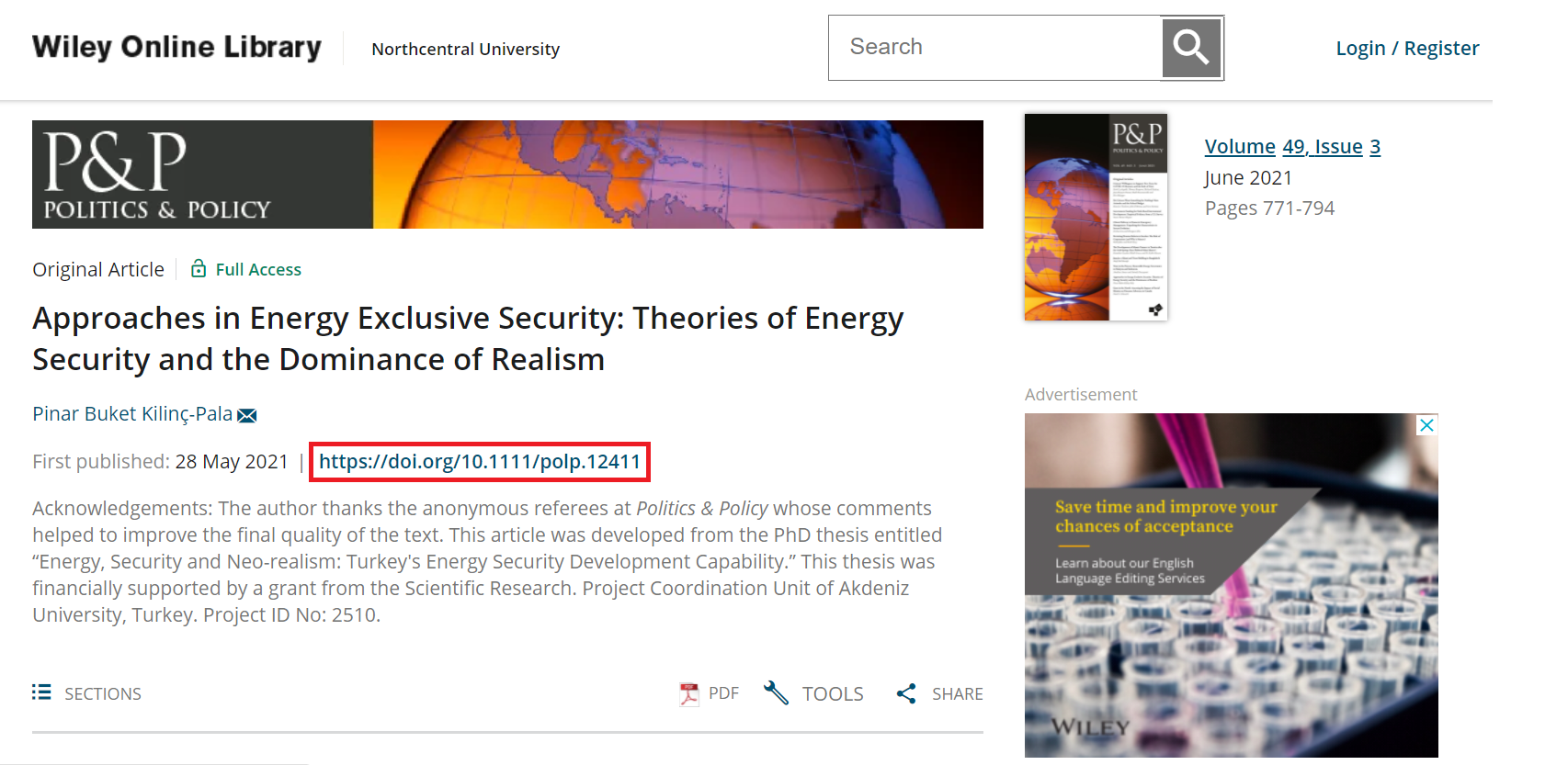 Wiley Online Library resource landing page with DOI link highlighted