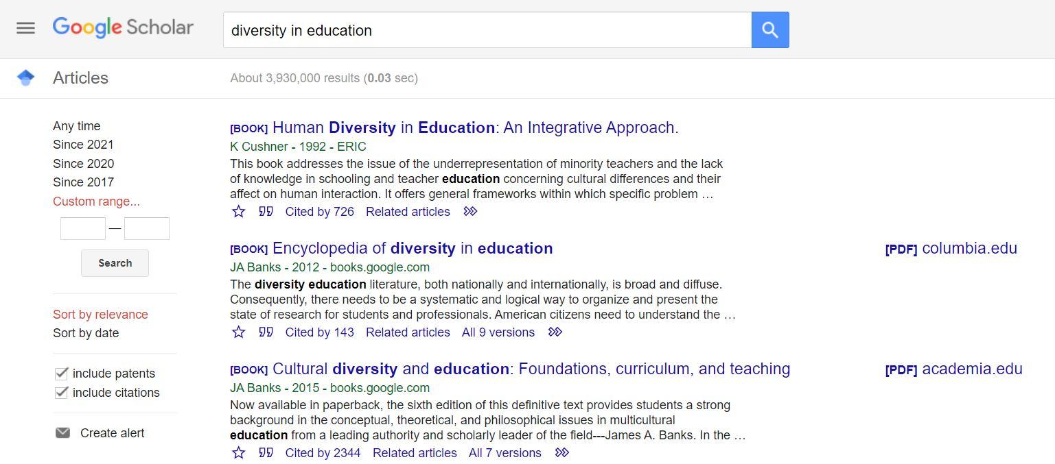 Filters in Google Scholar
