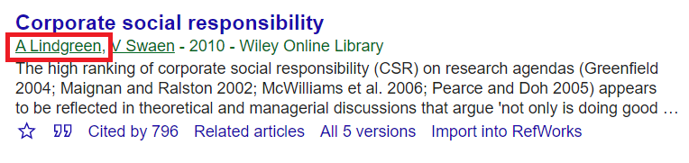 Hyperlinked author in Google Scholar to view profile