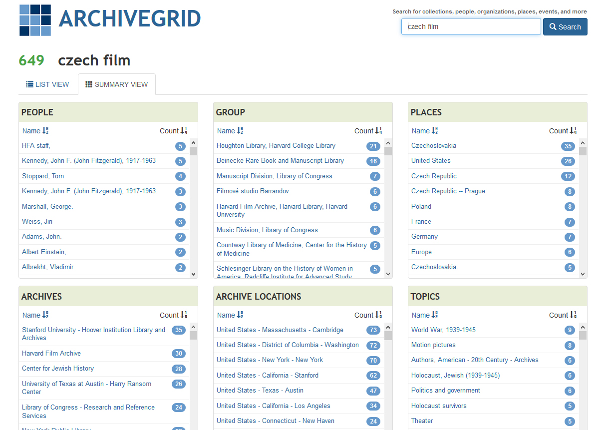 Screenshot of ArchiveGrid results page