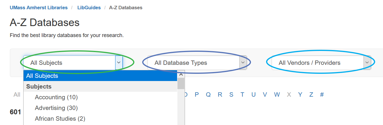 Screenshot of limiters of Databases A-Z page