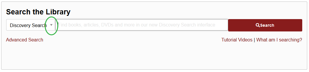 Library homepage search bar and dropdown