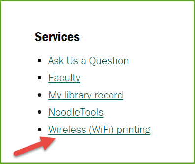 red arrow pointing at Wifi printing link on library homepage.
