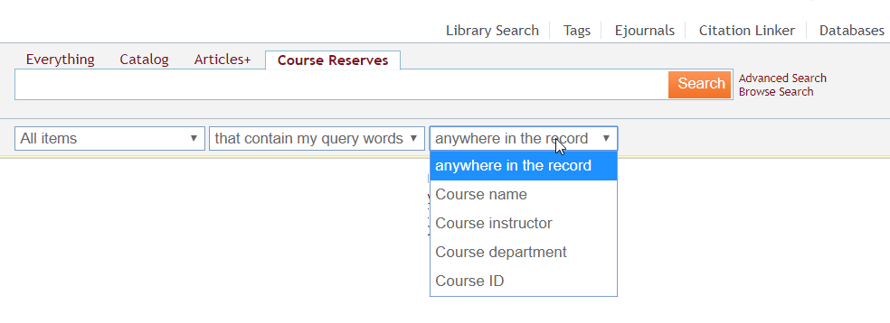 Image of Course Reserve Search