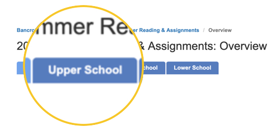 Tabs for summer reading page with Upper School tab highlighted