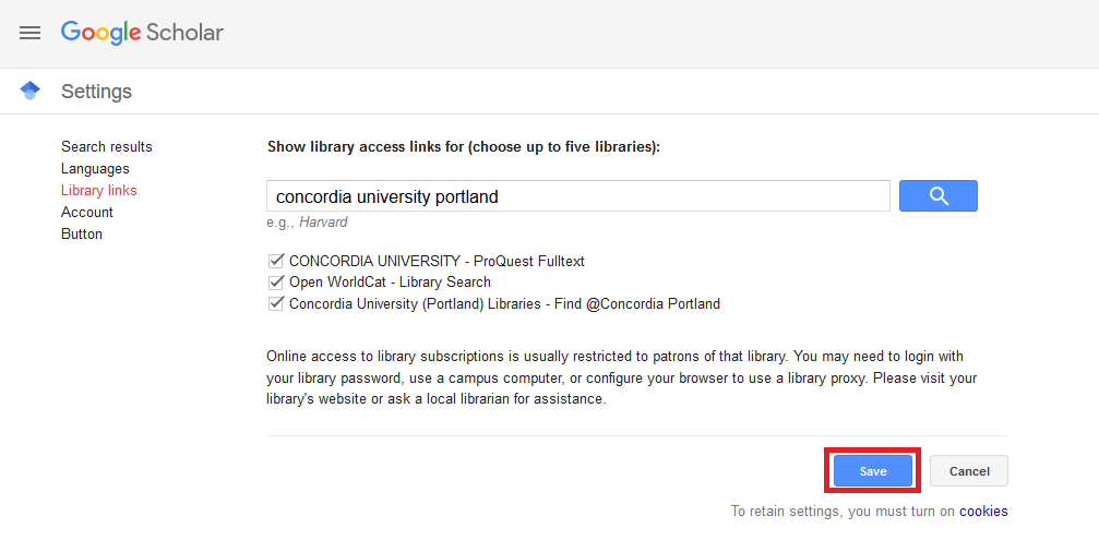 Google scholar library links page with box around 'Save' button