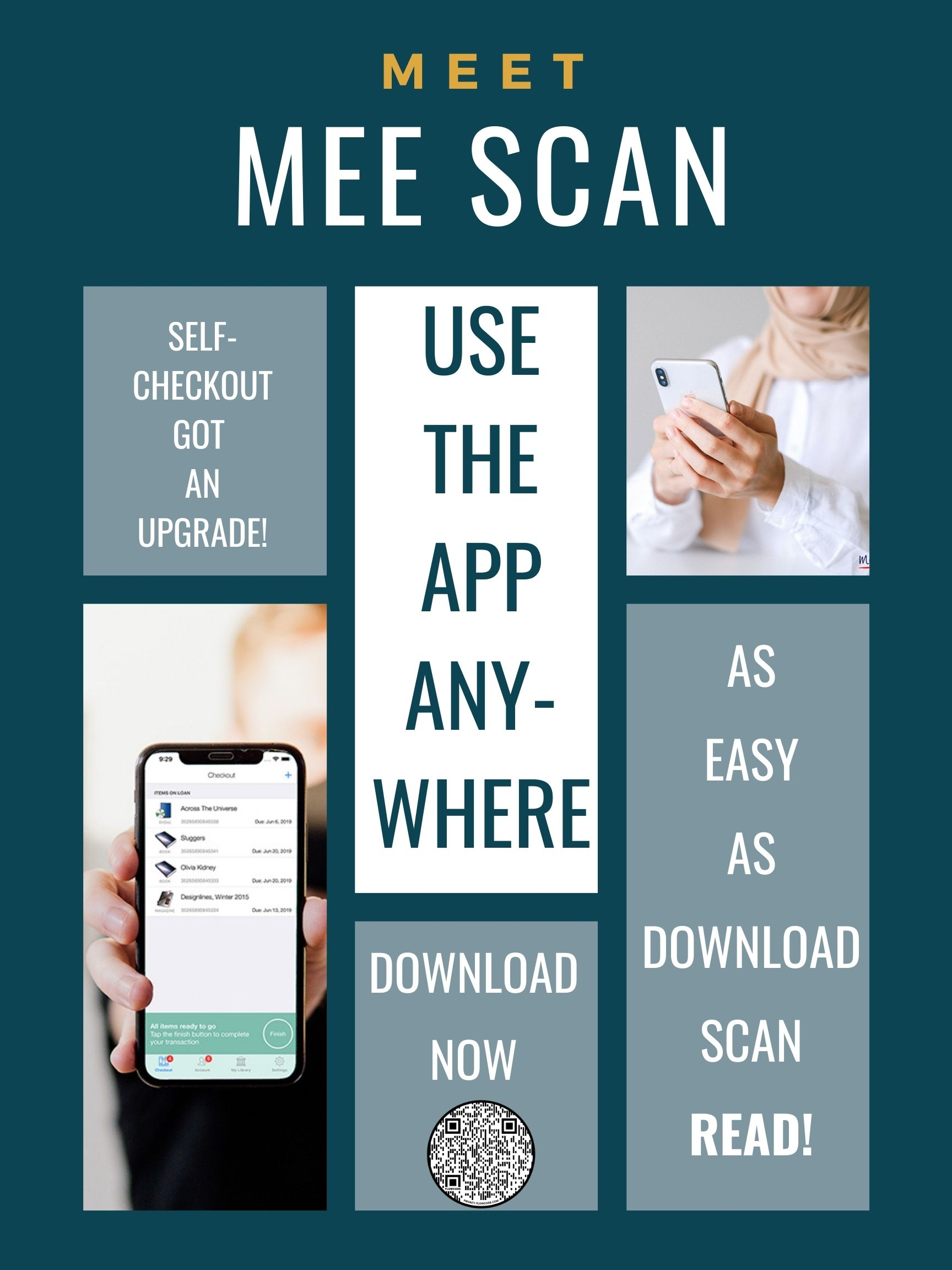 Download the MeeScan app to checkout books anywhere with your phone