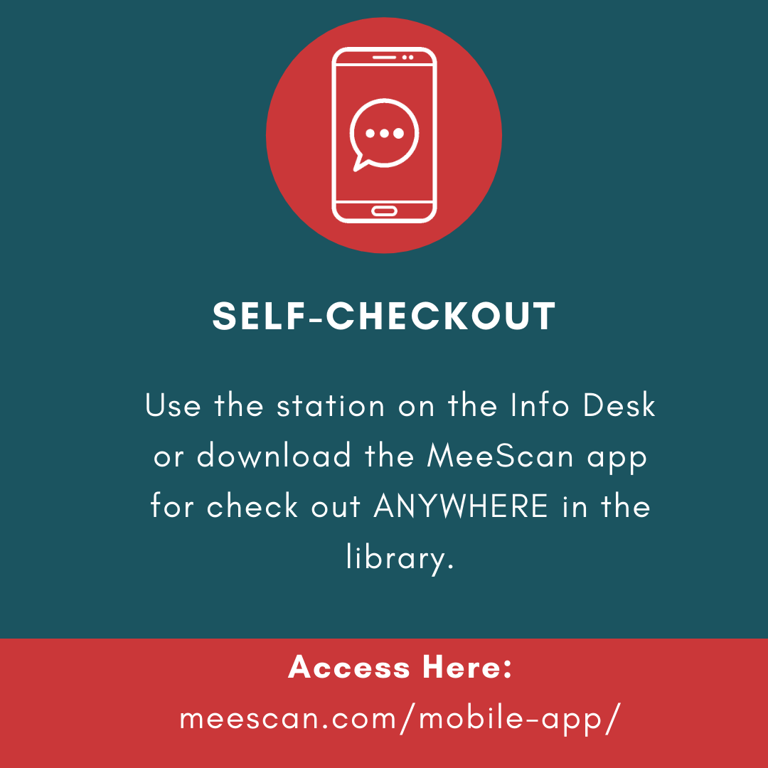 Flyer advertising self-checkout through MeeScan. Download at meescan.com/mobile-app