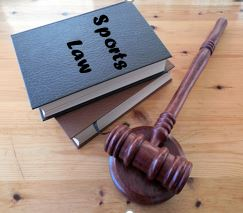 photo books labeled Sports Law with gavel nearby