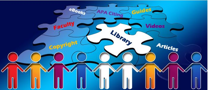 Image of puzzle pieces labeled Faculty, Library, eBooks, APA Citing, Guides, videos, articles and copyright with paperdoll like figures across bottom of puzzle