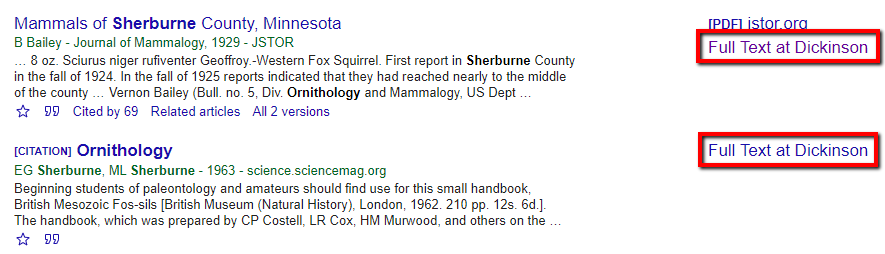"Google Scholar search results that display the ""Full text at Dickinson College"" link"