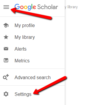 Google Scholar homepage, with arrows pointing to Menu icon and Settings menu option