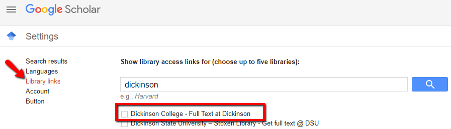 Click on library links, search for Dickinson, and select the entry for Dickinson College - Full text at Dickinson.