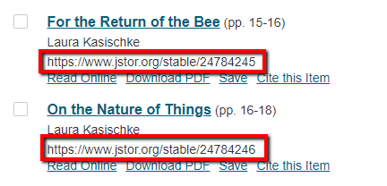 A Table of Contents listing that shows two article entries, with both URLs (e.g. https://www.jstor/stable/24784245) highlighted.