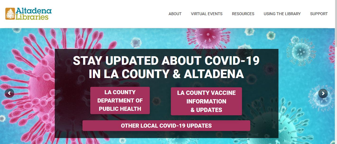 Image of Altadena Library Website