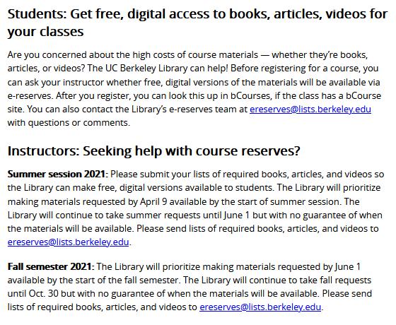 Berkeley Course Reserves