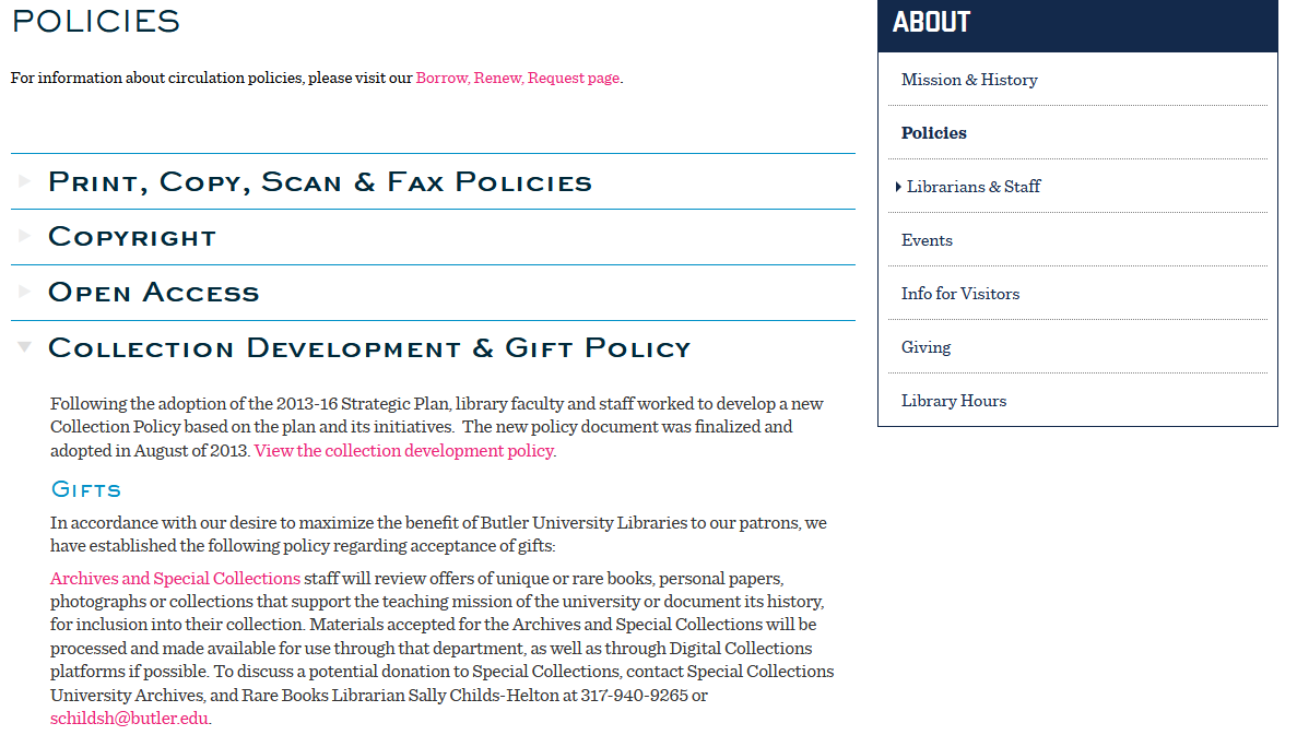 Butler University Collection Development Policy