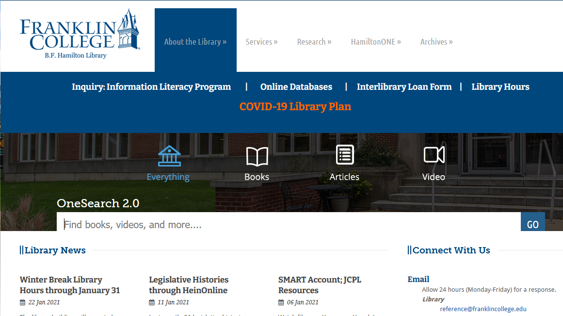 Image of Franklin College Library Website