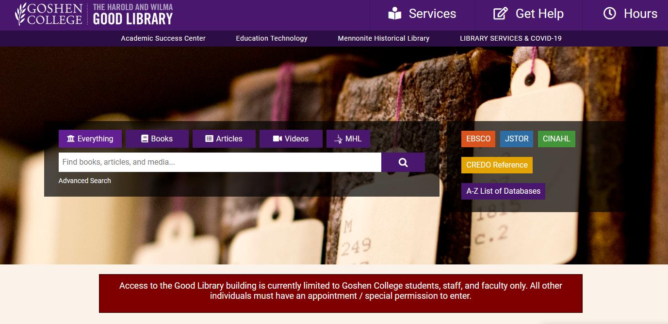 Image of Goshen College Library Website