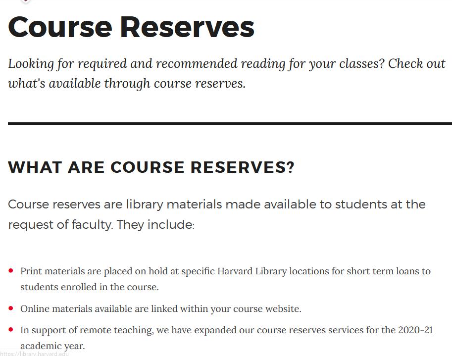 Harvard University Course Reserves