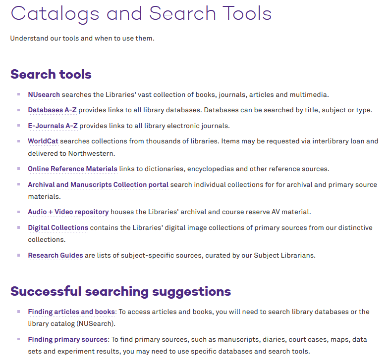 Northwestern Catalogs and Search Tools