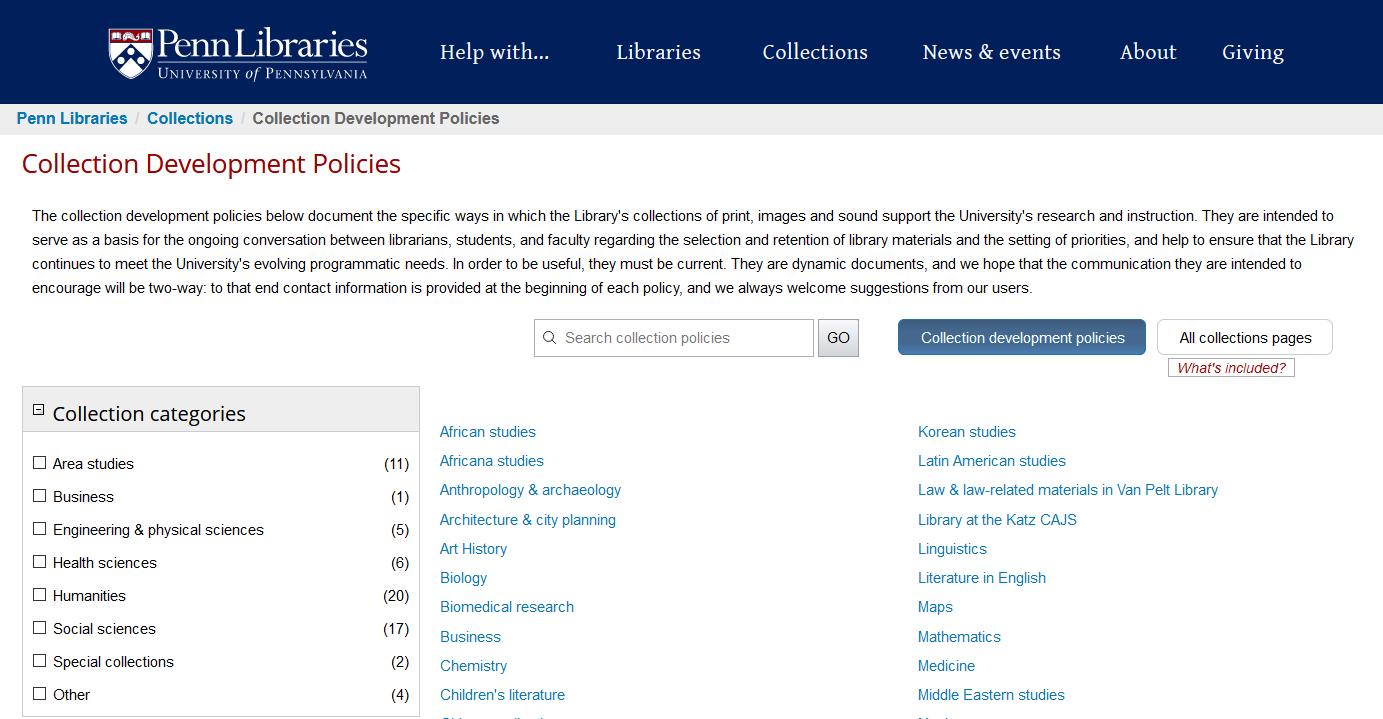 Penn Libraries Collection Development
