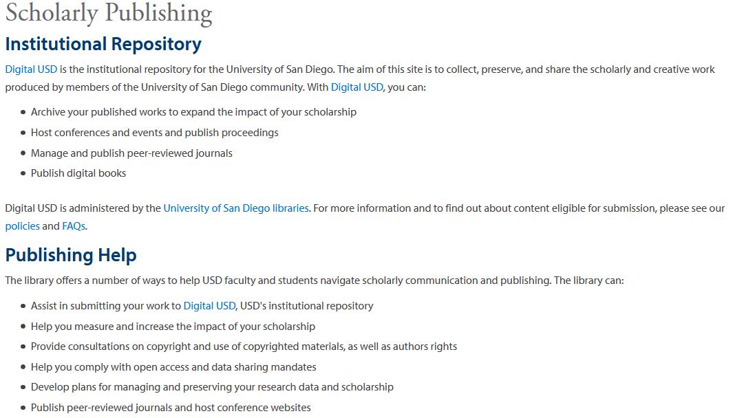 University of San Diego Scholarly Publishing