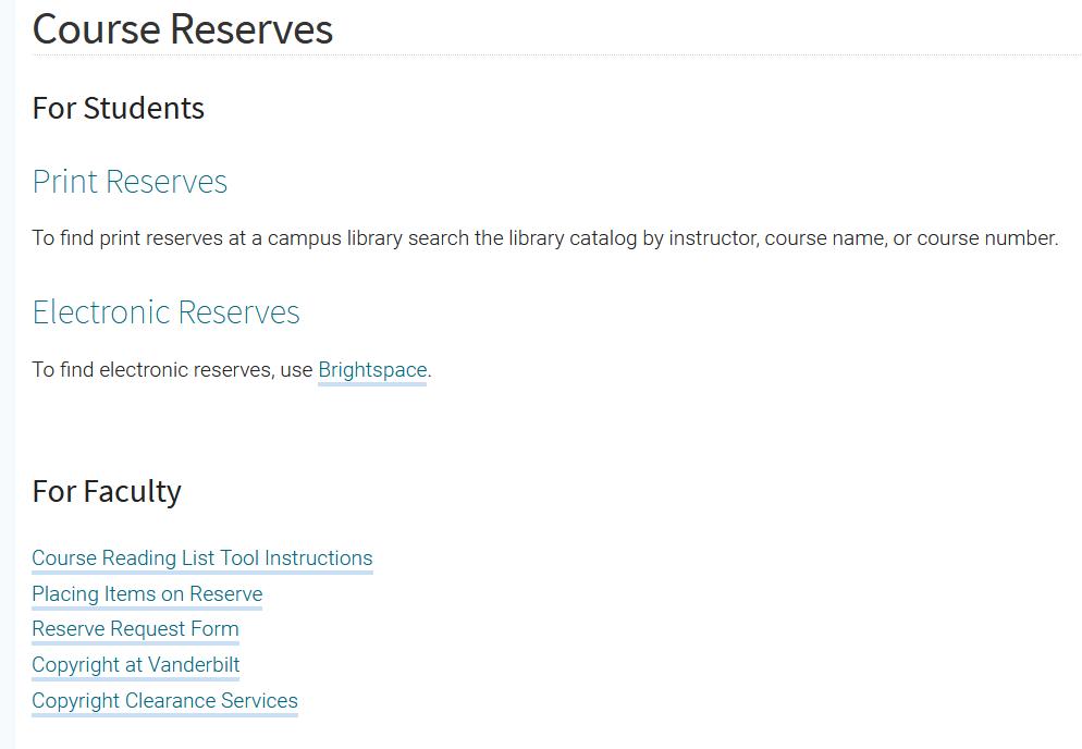 Vanderbilt University Course Reserves
