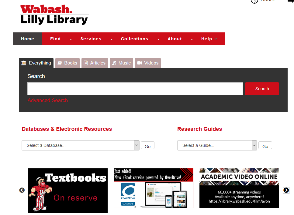 Image of Wabash's Library Website