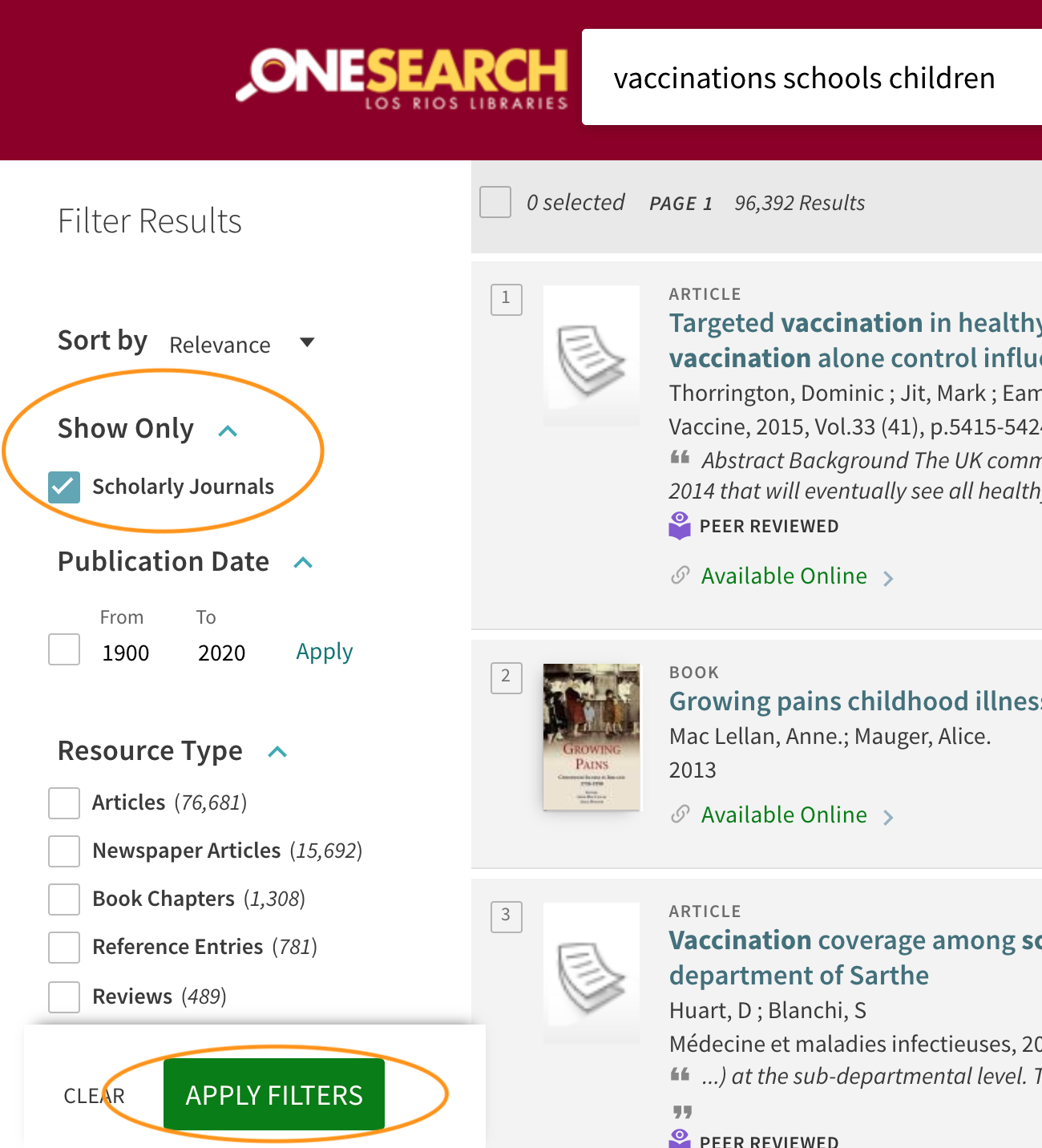 Select Scholarly Journals. Then click on Apply Filters.
