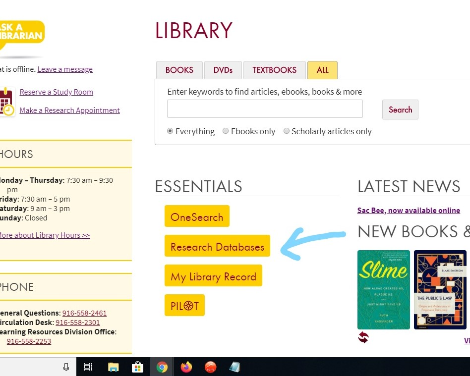 Click on Research Databases.