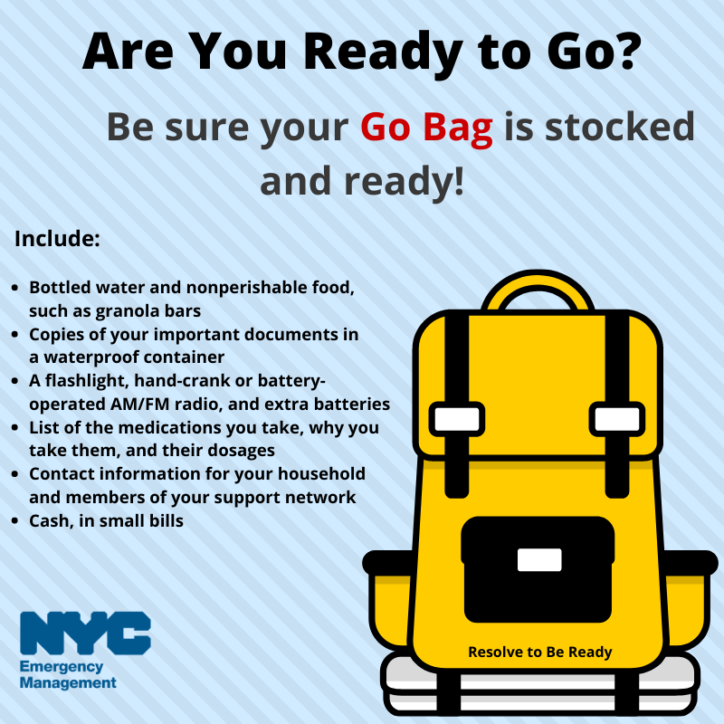 Are you Ready to Go? Be sure your Go Bag is stocked and ready!