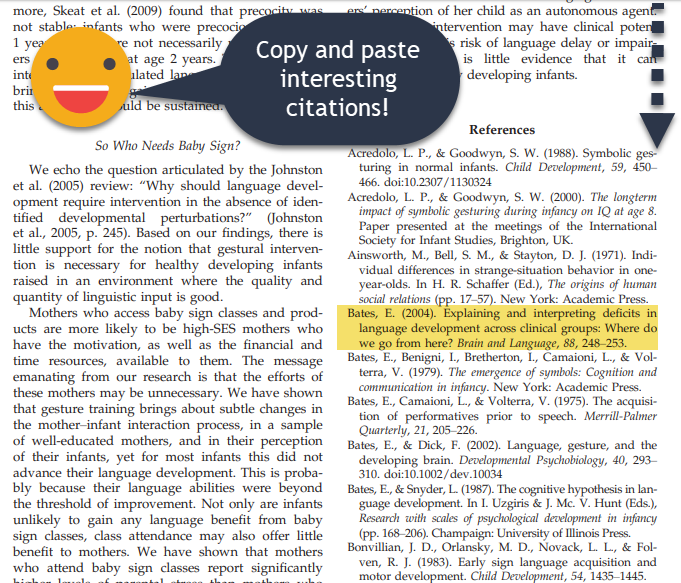 Review bibliography citations.  Copy and paste interesting titles