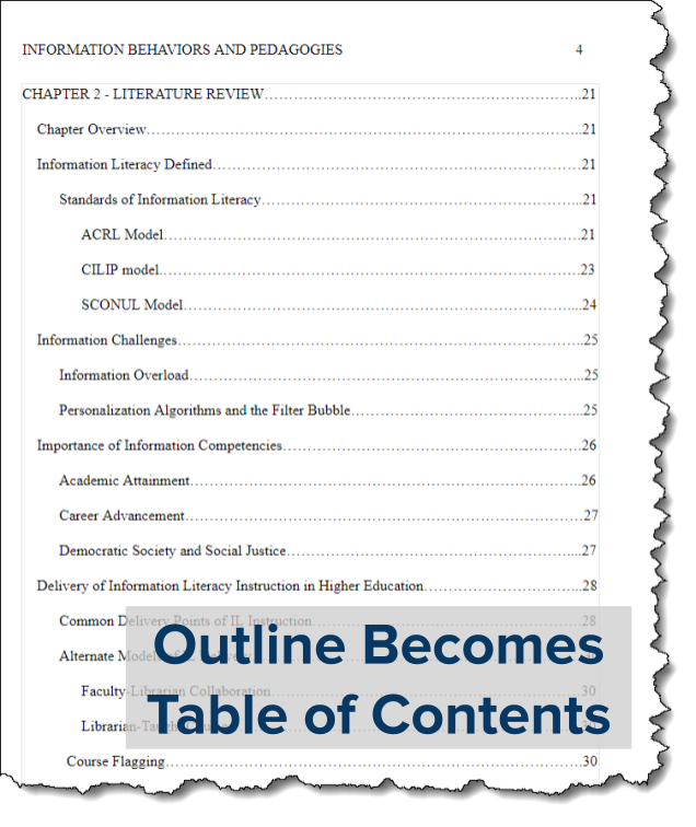 Outline Becomes Table of Contents