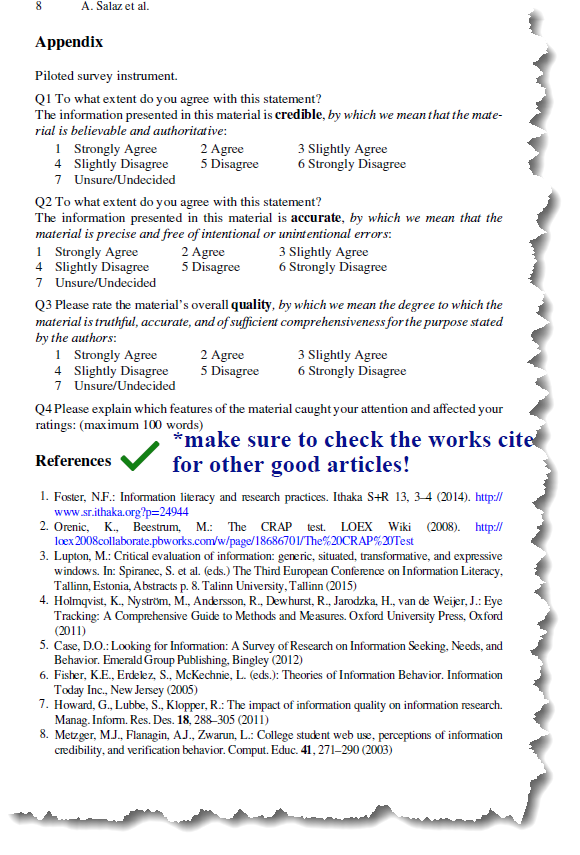 Reading Articles - Works Cited