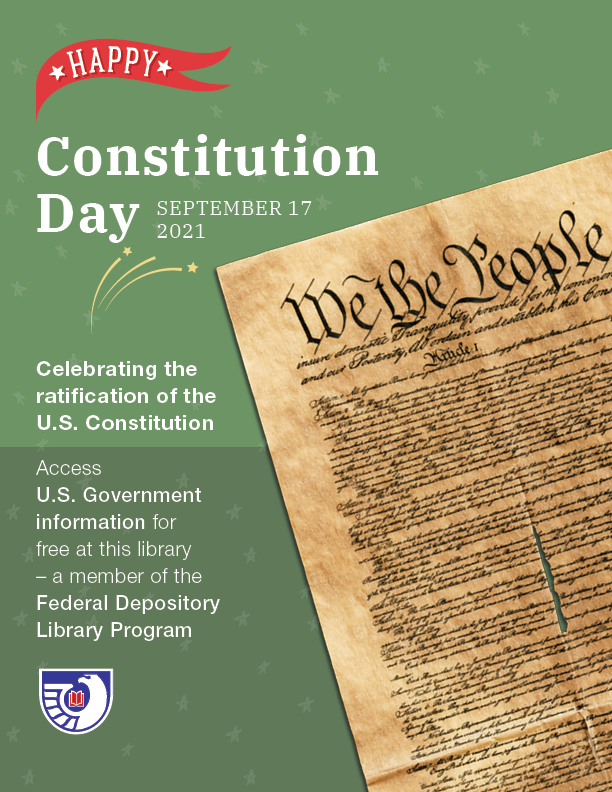 Happy Constitution Day, Celebrating the ratification of the U.S. Constitution with image of the Constitution