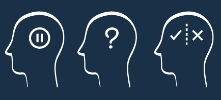 Three head silhouettes with pause symbol, question mark, and checkmark and x in each.